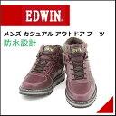 エドウィン メンズ 防水 ミドル ブーツ アウトドア カジュアル 雨 雪 靴 EDWIN EDM-9500 ワイン