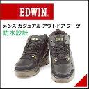 エドウィン メンズ カジュアル アウトドア ブーツ サイドジップ 防水 防滑 雨 雪 靴 EDWIN EDM-9600 ブラック