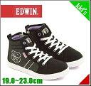 エドウィン ハイカット スニーカー 女の子 キッズ 子供靴 運動靴 通学靴 サイドジップ カジュアル デイリー トラベル EDWIN EDW-3501 ブラック