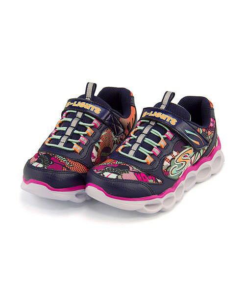 スケッチャーズ ローカット スニーカー 女の子 キッズ 子供靴 運動靴 通学靴 Sライト ルミリュクス 光る靴 ライトアップスニーカー S LIGHTS - LUMI-LUXE SKECHERS 10914L ネイビー/マルチ