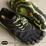 Vibram FiveFingers ビブラムファイブフィンガーズ メンズ V-Run Black/Yellow ビブラム ファイブフィンガーズ 5本指シューズ ベアフット(16M3101)【コンビニ受取対応商品】