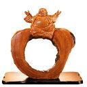 李開模作 楠丸太 『福蒔き布袋』工芸 置物 美術 楠 彫刻 特製台座無料進呈【通販・販売】