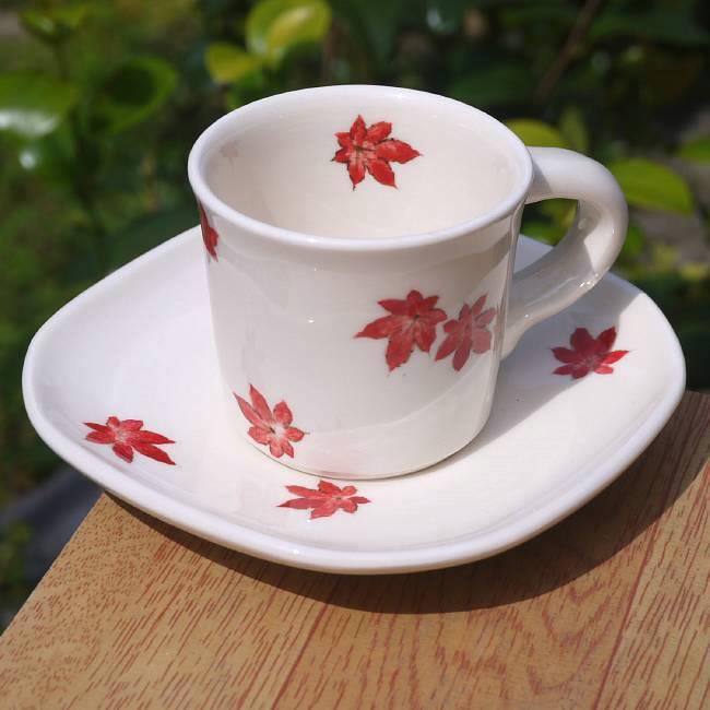 京焼 清水焼 紅葉デミタスカップ
