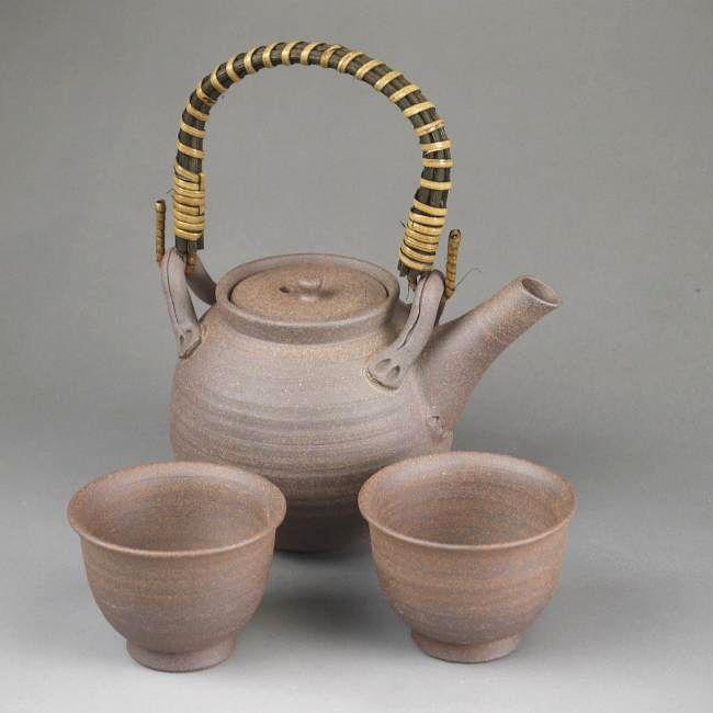清水焼 焼締土瓶煎茶碗2個セット 雅楽 (狭口)
