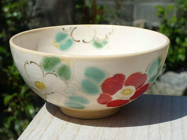 京焼 清水焼 刷毛目つばきご飯茶碗 大
