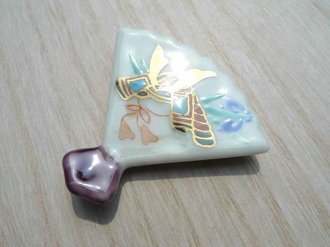 京焼 清水焼 端午箸置き 紫単品