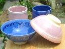 京焼 清水焼 青ピンク夫婦湯のみと夫婦茶碗セット 浅型