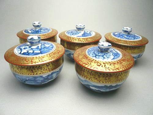 京焼 清水焼 金襴青華山水汲出碗揃 五座五重