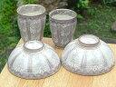 京焼 清水焼 紫彩花紋夫婦湯呑と夫婦茶碗セット
