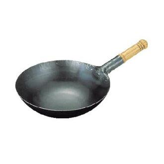 在日本只有鐵 repousse 在鍋山田工業製造商木處理炒鍋 30 釐米
