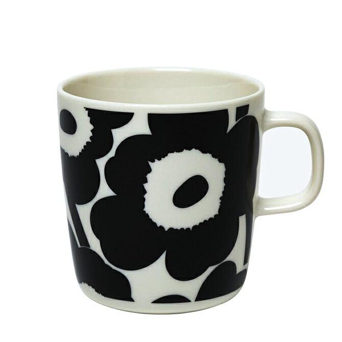 マリメッコ marimekko オイバ ウニッコ マグカップ 400ml (ブラック×ホワイト) 070636 190 2021SS Oiva Unikko mug 4dl 食器 コップ キッチン雑貨 ペンスタンド