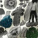 マリメッコ marimekko 撥水加工 コーティングコットン生地 プータルフリン パルハート (960 ホワイト×ブラック×グリーン) 10cm単位カット販売...