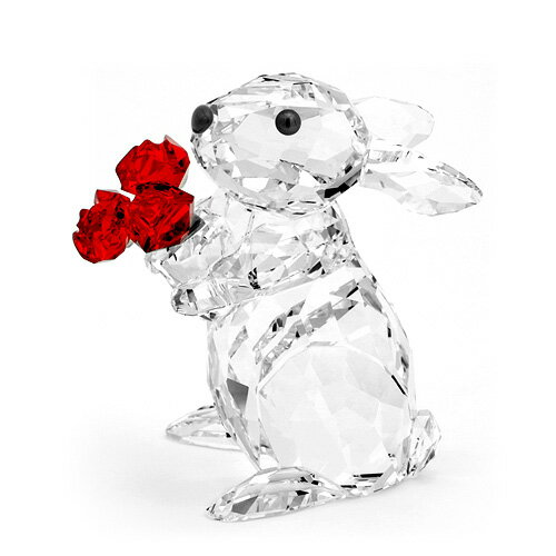 スワロフスキー SWAROVSKI シンポル ラビット ウサギとローズ 5.4 x 3.7 x 4.9 cm (クリア×レッド) 5063338 Rabit Roses 【楽ギフ_包装】 02P05Nov16