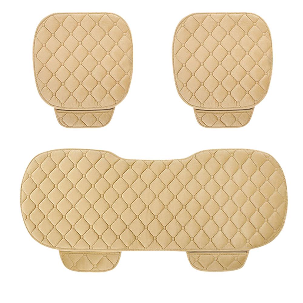 車用シートクッション3点セット(運転席、助手席、後部席)自宅の椅子キルティング加工裏面滑り止め加工カ