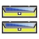 2個セット 180LED COB ソーラーライト ウォールライト 人感 センサーライト PIR 夜間自動点灯 IP44防水 太陽光充電 屋外 玄関灯 壁 ◇ALW-JY1806-COB-2SET