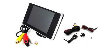 3.5インチ ミニオンダッシュ液晶モニター+バックカメラセット 映像2入力&バックカメラコントロール入力装備 12V車用◇ALW-OMT35+BK200
