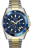 【当店1年保証】ブローバBulova 98B230 Mens Marine Star Blue Steel Chronograph Watch