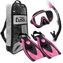 シュノーケリング マリンスポーツ UP-1521QB-HP-S TUSA Sport Adult Black Series Serene Mask, Dry Snorkel, and Fins Travel Set, Bl..