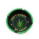 """灰皿 海外モデル アメリカ 輸入物 6097340 【送料無料】Cool Cigarette Ashtray Inscribed """"Don't Worry, Be Happy"""" and Marijuana Leaf Centerpiece For Home Decor - Smoke Anywhere With Vintage Hippie Pot Leaf Wee灰皿 海外モデル アメリカ 輸入物 6097340"""