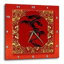 壁掛け時計 インテリア 海外モデル アメリカ 輸入 3dRose DPP_101857_2 Chinese Zodiac Year of The Dragon Chinese New Year Red, Gold and Black-Wall Clock, 13 by 13-Inch壁掛け時計 インテリア 海外モデル アメリカ 輸入