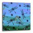 壁掛け時計 インテリア 海外モデル アメリカ 輸入 3dRose Black Dragonflies and Seeds on Blue and Green Background Wall Clock 13 x 13壁掛け時計 インテリア 海外モデル アメリカ 輸入
