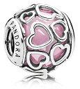 パンドラ ブレスレット アクセサリー ブランド かわいい Pandora Encased in Love Silver Charm with Pink Cubic Zirconia 792036PCZパンドラ ブレスレット アクセサリー ブランド かわいい