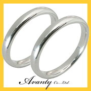 【刻印無料】2本セット:甲丸:マリッジリング結婚指輪:K18ホワイトゴールド:K18WG
