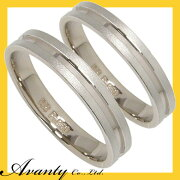 【刻印無料】2本セット:プラチナマリッジリング結婚指輪:プラチナ950/K18WG