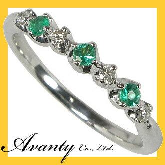 【Avanty】●送料無料:5月誕生石/エメラルドスリーストーン&ダイヤリング/K18ホワイトゴールド あさい