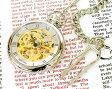 懐中時計 メカニカル ポケット 腕時計 両面スケルトン BR925-SVGD シルバー×ゴールド 【男性用腕時計 リストウォッチ ランキング ブランド 防水 カラフル】懐中時計