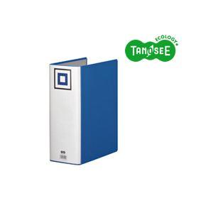 (まとめ)TANOSEE 両開きパイプ式ファイルV A4タテ 100mmとじ 青 30冊 パイプ式ファイル 両開き