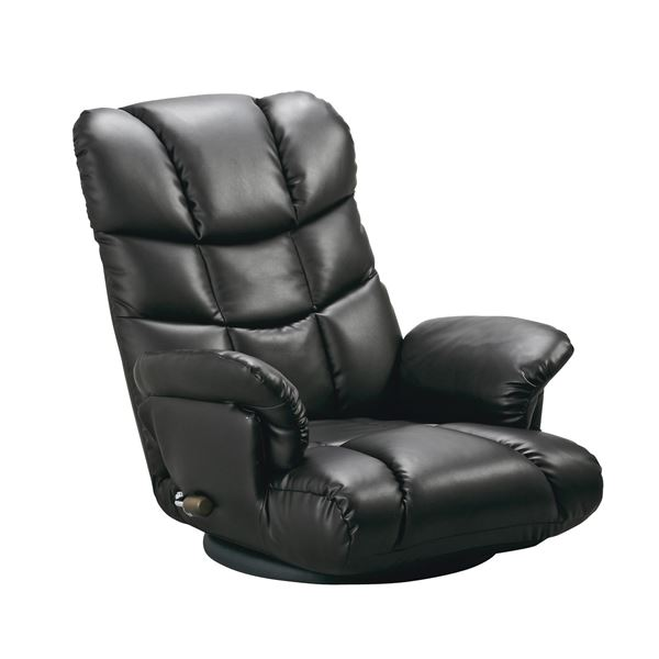 スーパーソフトレザー座椅子 【神楽】 13段リクライニング/ハイバック/360度回転 肘掛け 日本製 ブラック(黒) 【完成品】【】 背中をやさしく包み込む、極上の座り心地のフロアチェア【すばらしい】
