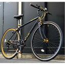 クロスバイク 700c(約28インチ)/ブラック(黒) シマノ7段変速 重さ/ 12.0kg 軽量 アルミフレーム 【LIG MOVE】【代引不可】