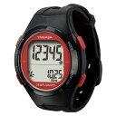 ショッピング電波 腕時計型 万歩計/歩数計 【ブラック×レッド TM500-BKR】 電波時計内蔵 生活防水 『DEMPA MANPO』 〔運動用品〕【代引不可】