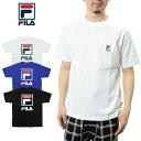 FILA フィラ バックロゴプリントTシャツ (FM9594 Half sleeve Tee shirts メンズ レディース ワンポイント 刺繍 )