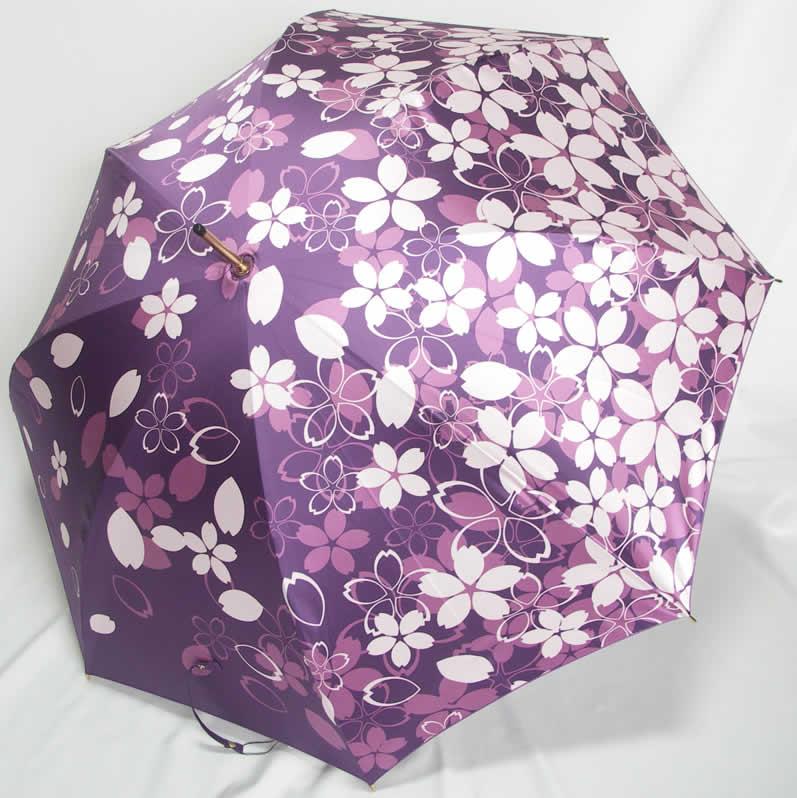 婦人傘 レディース 長傘 女性用雨傘 一枚張り 桜吹雪 セルメス 「エイト婦人・女性用傘 カーボン8本骨 一枚張り 桜吹雪」 【送料無料】
