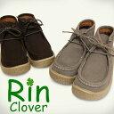 【Rin Clover】CE 3423 レディースショートブーツ モカシンシューズ ワラビー スエード調 ハイカットシューズ ローヒール 紐靴 カジュアルシューズ ぺたんこ ペタンコ ダークブラウン(濃茶) グレー(グレイ)