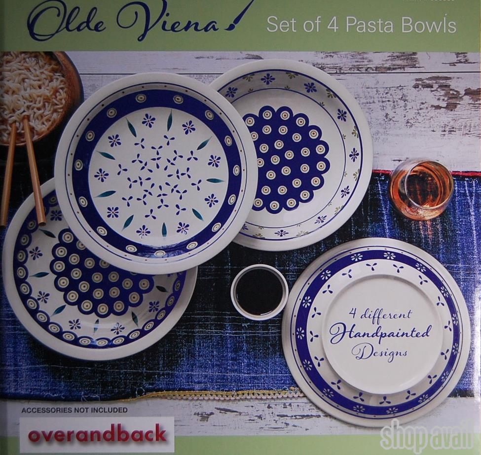 絵柄の可愛いパスタ皿4枚パスタボウルoverandbackシチュー皿カレー皿プレートランチプレート輸