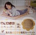 山善 YAMAZEN 洗えるどこでもカーペット ベージュ YWC-182F(C) 1人用 180×80cm 電気カーペット ホットカーペット ホットマット 暖房