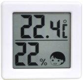 DRETEC 【熱中症・インフルエンザの危険度の目安を表情でお知らせ】 小さいデジタル温湿度計 ホワイト O-257WT