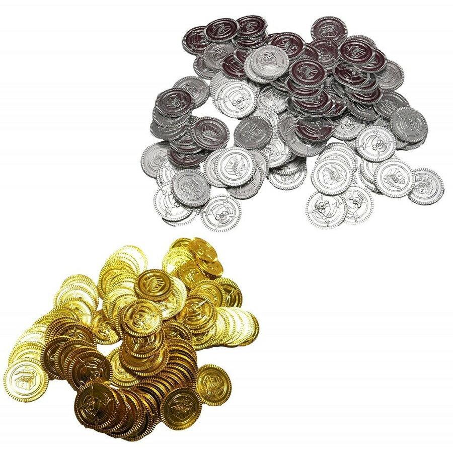 おもちゃのお金金貨100枚銀貨100枚コインセット偽コインゲーム用小道具海賊ゲームプラスチックのチッ