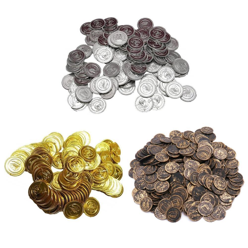 おもちゃのお金金貨銀貨銅貨コインセット偽コインゲーム用小道具海賊ゲームプラスチックのチップ