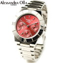 アレサンドラ・オーラ レディス腕時計 マルチファンクション 10気圧防水 レッド AO-900-5