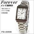 フォーエバー メンズ腕時計 スクエアー型 ホワイト文字盤 ローマインデックス FG-2306 ペア時計 贈答品