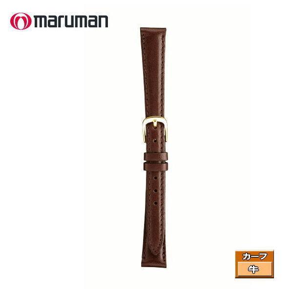 マルマン 婦人皮革バンド カーフ 濃茶 ステッチ入り 時計際幅 13mm 美錠幅 10.5mm DM便利用で送料無料(代引き不可)