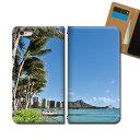 Galaxy A30 UQ mobile SCV43U スマホ ケース 手帳型 ベルトなし HAWAII ハワイ ヤシの木 スマホ カバー ハワイ eb33701_01