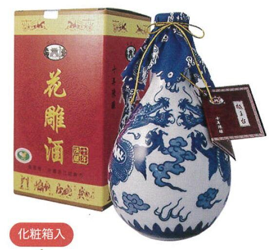 横浜中華街 越王台陳年10年花彫酒(白磁)、500mlX 12本(1ケース売り)、壷・紹興酒・化粧箱付き・縁起のよい双龍が描かれた壷のお酒です♪