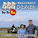 100%混じりっ気のない農家のお米 ひとめぼれ 3kgの小袋で3袋合計9kg(3kg×3袋)米どころ山形庄内平野の農家直送のお米