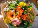 【送料無料】メッセージカード付 花束(ブーケ)オレンジ系O 【フラワーギフト お誕生日 プレゼント