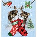 刺繍 刺しゅう輸入キット Anchor Christmas Kittens 【ネコポス可】